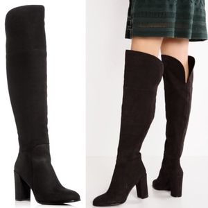kenneth cole // over the knee black leather boots